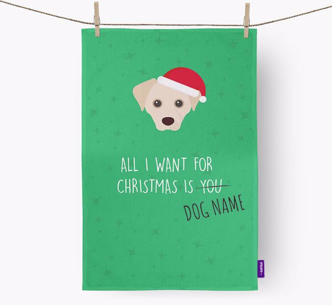 Tea Towel 'All I Want for Christmas is...' with Cheagle Icon