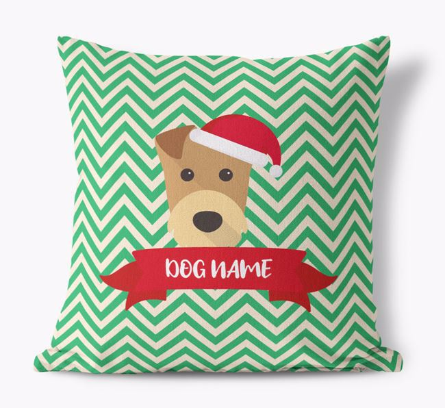 Zigzag Pattern Canvas Cushion with Airedale Terrier Icon