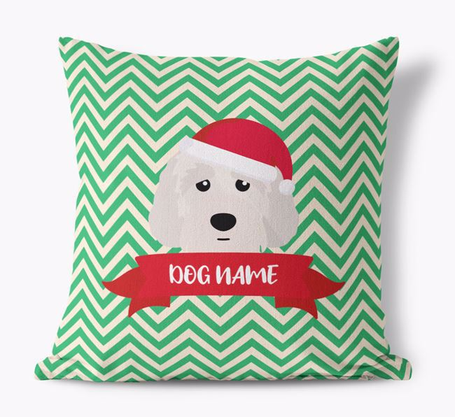 Zigzag Pattern Canvas Cushion with Australian Labradoodle Icon