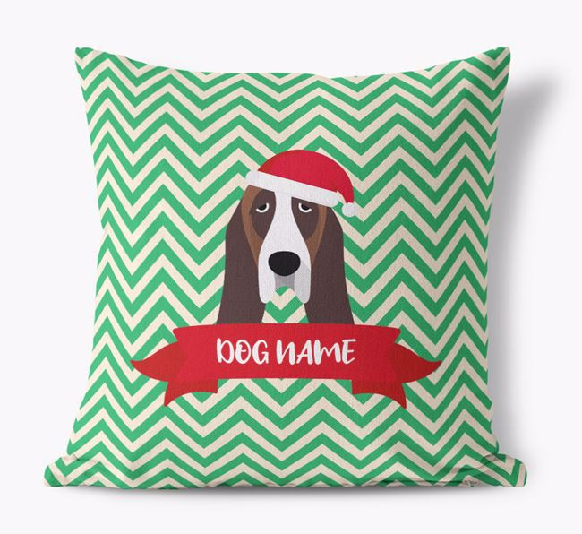 Zigzag Pattern Canvas Cushion with Basset Hound Icon