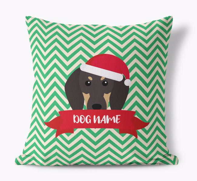 Zigzag Pattern Canvas Cushion with Black and Tan Coonhound Icon