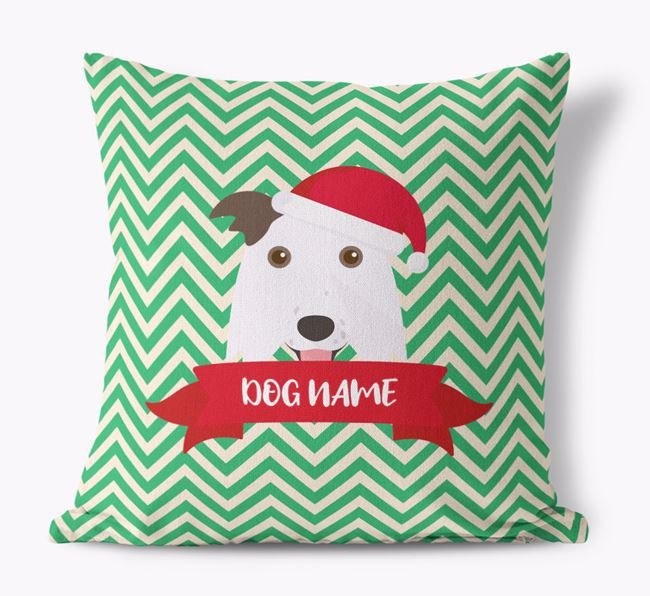 Zigzag Pattern Canvas Cushion with Border Collie Icon