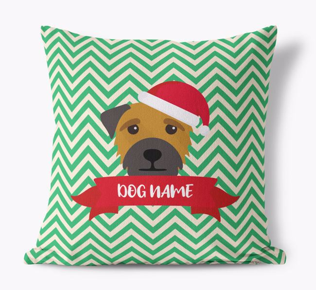 Zigzag Pattern Canvas Cushion with Border Terrier Icon