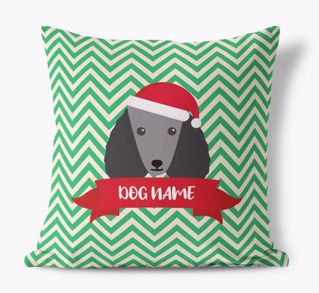 Zigzag Pattern Canvas Cushion with Poodle Icon