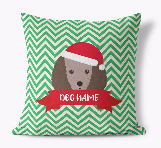 Zigzag Pattern Canvas Cushion with Toy Poodle Icon