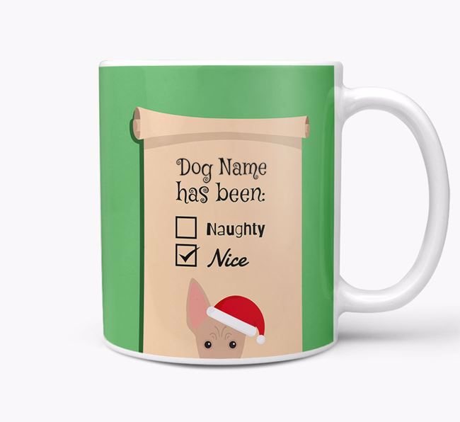 Personalised 'Naughty Or Nice' Christmas Mug with American Hairless Terrier Icon