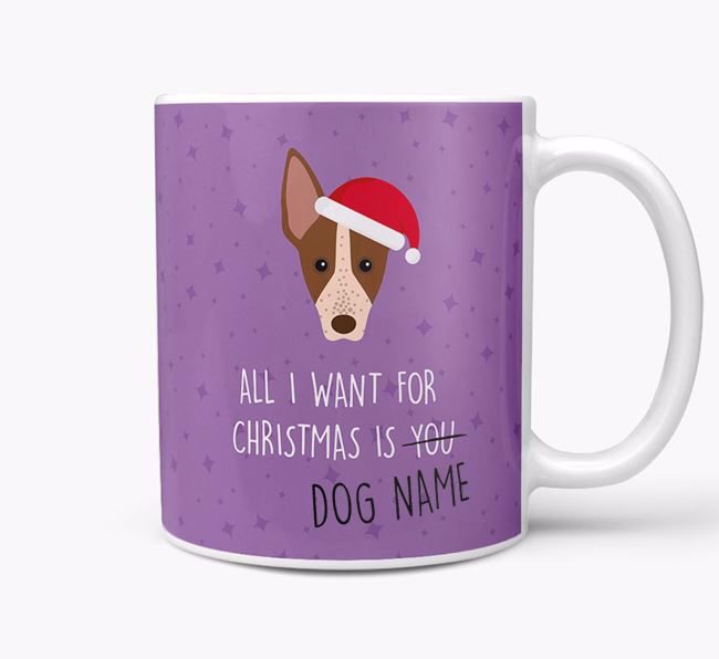 Personalised 'All I Want For Christmas Is...' Mug with American Hairless Terrier Icon