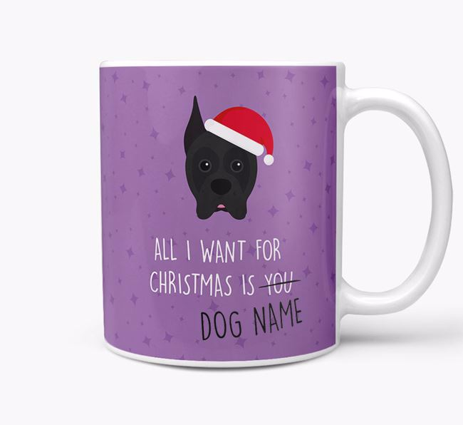 Personalised 'All I Want For Christmas Is...' Mug with Boxer Icon