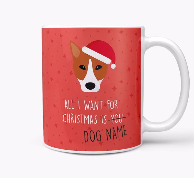 Personalized 'All I Want For Christmas Is...' Mug with Canaan Dog Icon