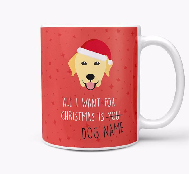 Personalized 'All I Want For Christmas Is...' Mug with Dog Icon