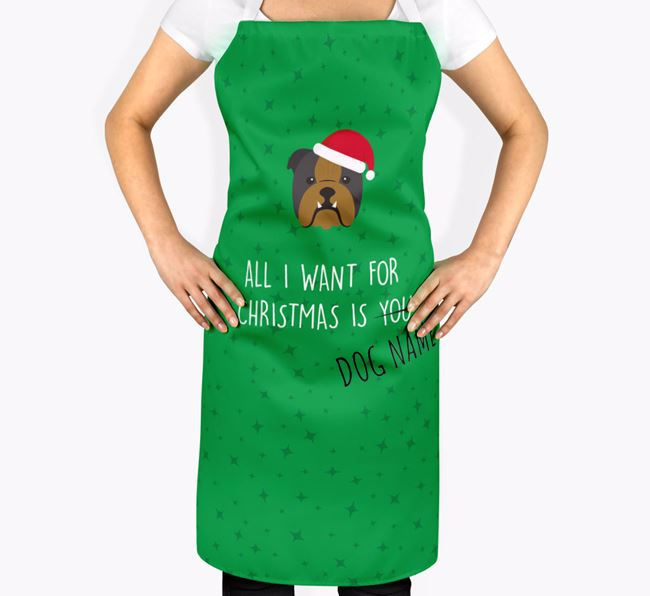 Personalised 'All I Want for Christmas' Apron with English Bulldog Icon