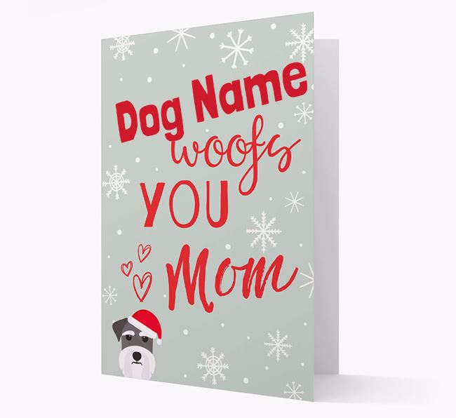 'I Woof You Mom' Card with your Dog Christmas Icon