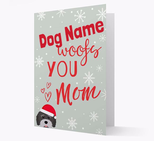 'I Woof You Mom' Card with your Tibetan Terrier Christmas Icon
