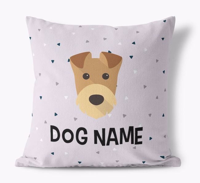 Triangle Pattern Canvas Cushion with Airedale Terrier Icon