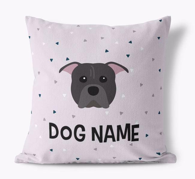 Triangle Pattern Canvas Pillow with American Pit Bull Terrier Icon