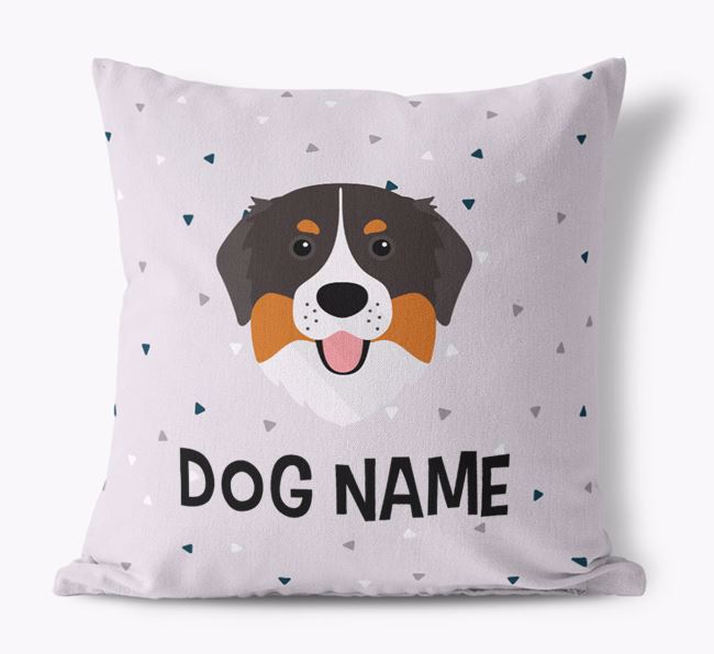 Triangle Pattern Canvas Cushion with Bernese Mountain Dog Icon