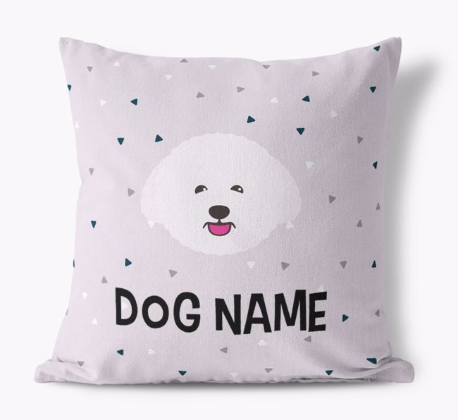 Triangle Pattern Canvas Cushion with Bichon Frise Icon