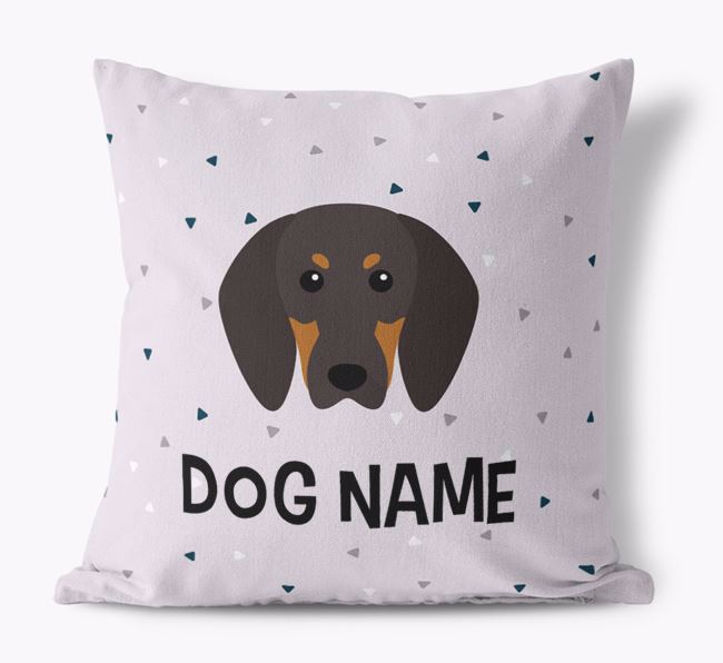 Triangle Pattern Canvas Cushion with Black and Tan Coonhound Icon