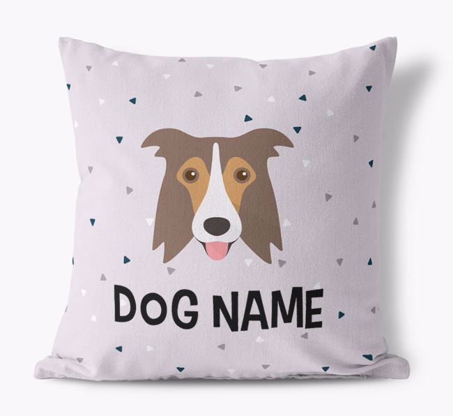 Triangle Pattern Canvas Cushion with Border Collie Icon