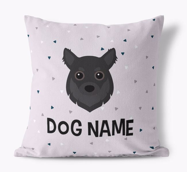 Triangle Pattern Canvas Cushion with Chihuahua Icon