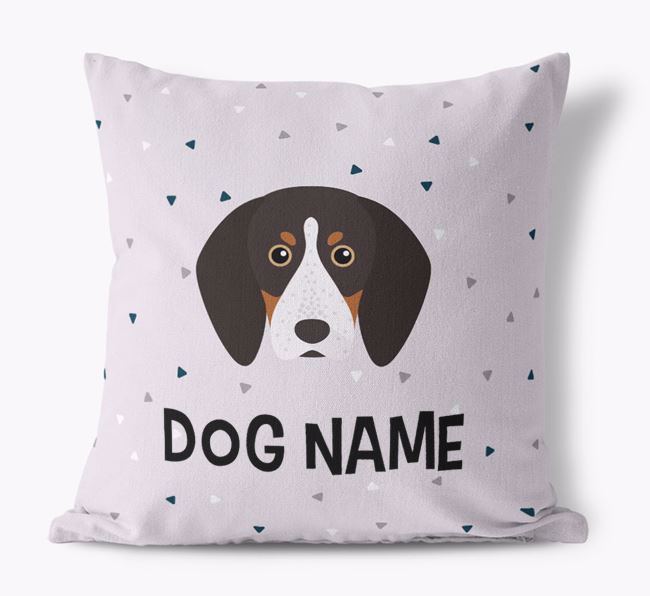 Triangle Pattern Canvas Pillow with English Coonhound Icon