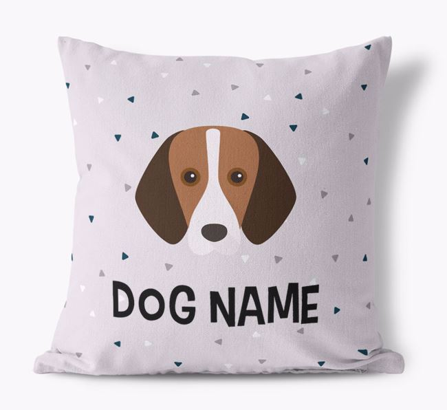 Triangle Pattern Canvas Cushion with Foxhound Icon