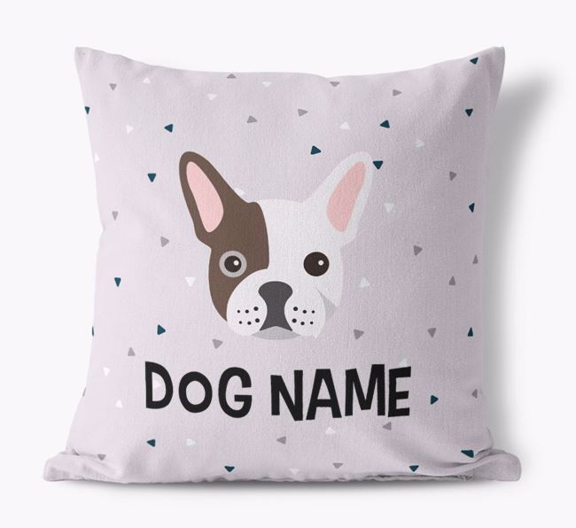 Triangle Pattern Canvas Cushion with French Bulldog Icon