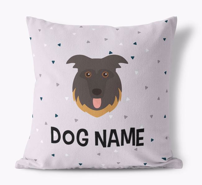 Triangle Pattern Canvas Cushion with German Shepherd Icon