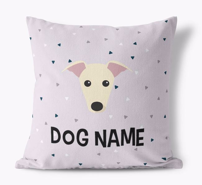 Triangle Pattern Canvas Cushion with Greyhound Icon