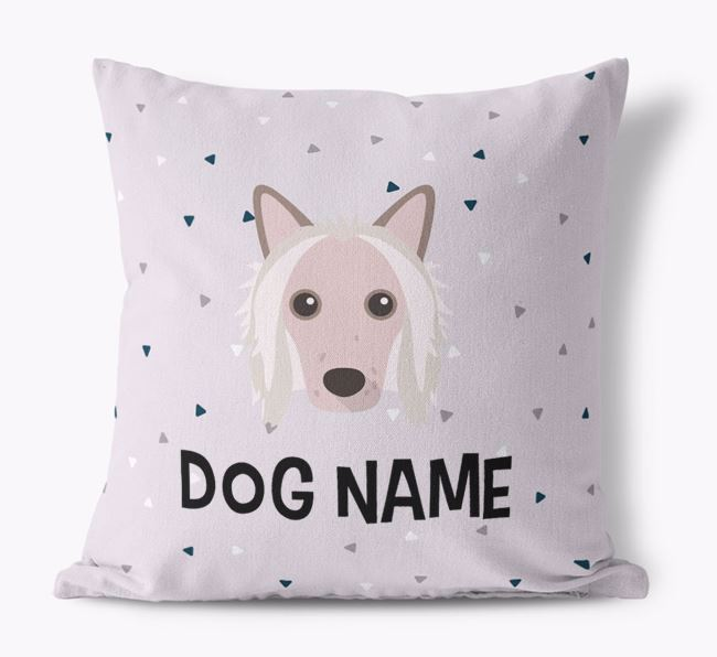 Triangle Pattern Canvas Cushion with Hairless Chinese Crested Icon