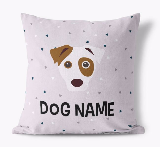 Triangle Pattern Canvas Pillow with Dog Icon