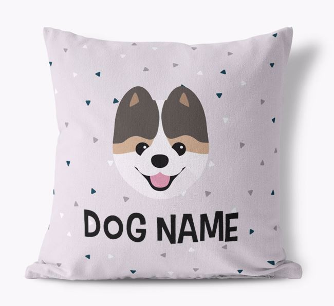 Triangle Pattern Canvas Cushion with Pomeranian Icon