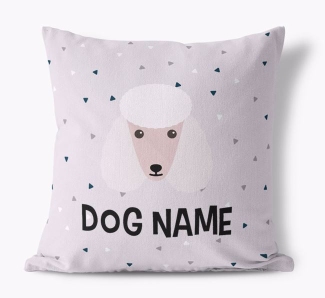 Triangle Pattern Canvas Cushion with Poodle Icon