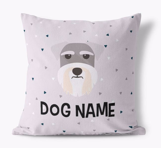 Triangle Pattern Canvas Cushion with Schnauzer Icon