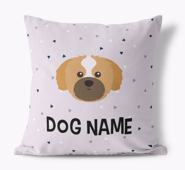 Triangle Pattern Canvas Cushion with Shih Tzu Icon