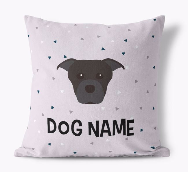 Triangle Pattern Canvas Cushion with Dog Icon