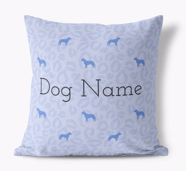 Leopard Print Canvas Pillow with American Pit Bull Terrier Silhouettes