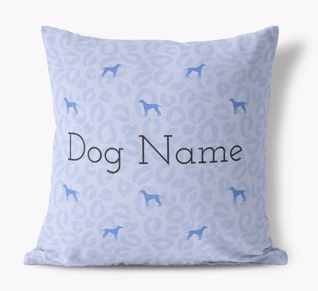 Leopard Print Canvas Cushion with Dog Silhouettes