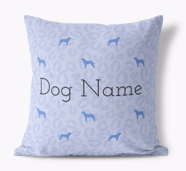 Leopard Print Canvas Pillow with Dog Silhouettes