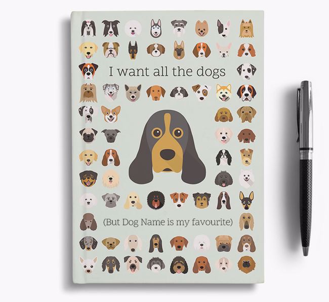 American Cocker Spaniel 'I Want All The Dogs' Personalised Notebook