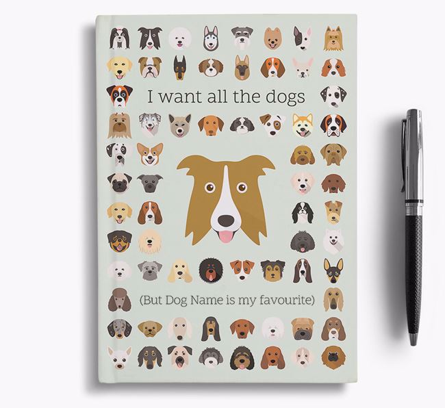 Border Collie 'I Want All The Dogs' Personalised Notebook