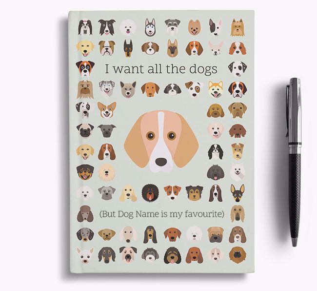 Foxhound 'I Want All The Dogs' Personalised Notebook