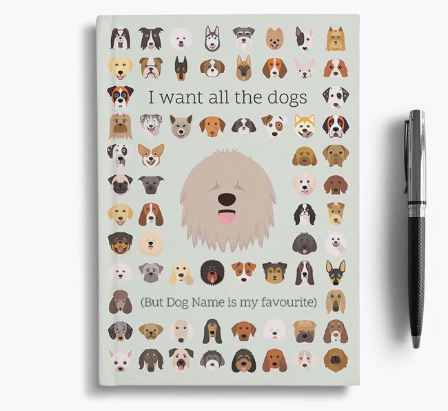 Komondor 'I Want All The Dogs' Personalised Notebook