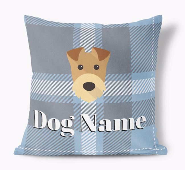 Tartan Pattern Soft Touch Cushion with Airedale Terrier Icon