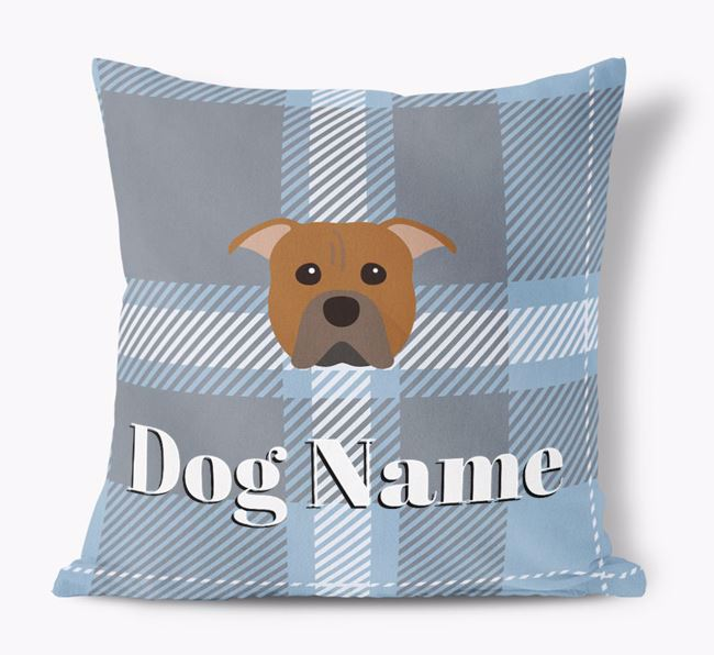Tartan Pattern Soft Touch Pillow with American Pit Bull Terrier Icon