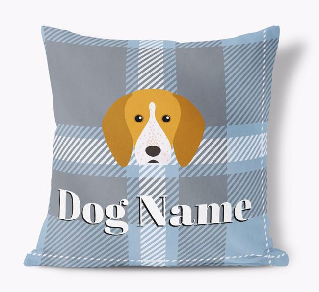 Tartan Pattern Soft Touch Pillow with English Coonhound Icon