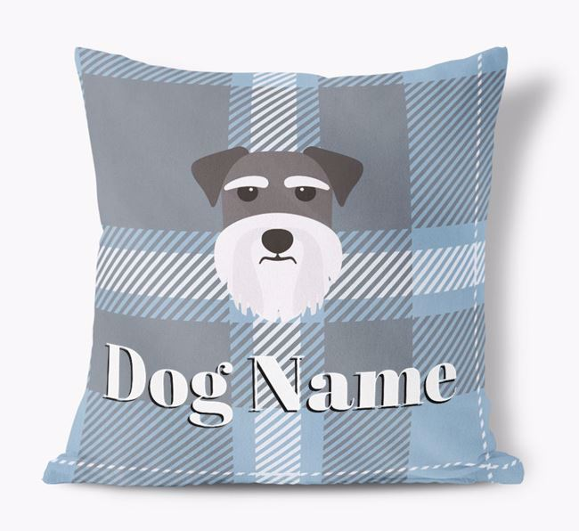 Tartan Pattern Soft Touch Pillow with Dog Icon