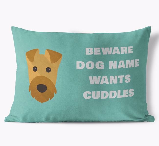 'Beware Of Cuddles' Soft Touch Cushion with Airedale Terrier Icon