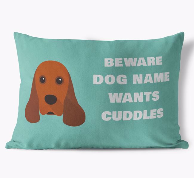 'Beware Of Cuddles' Soft Touch Pillow with American Cocker Spaniel Icon