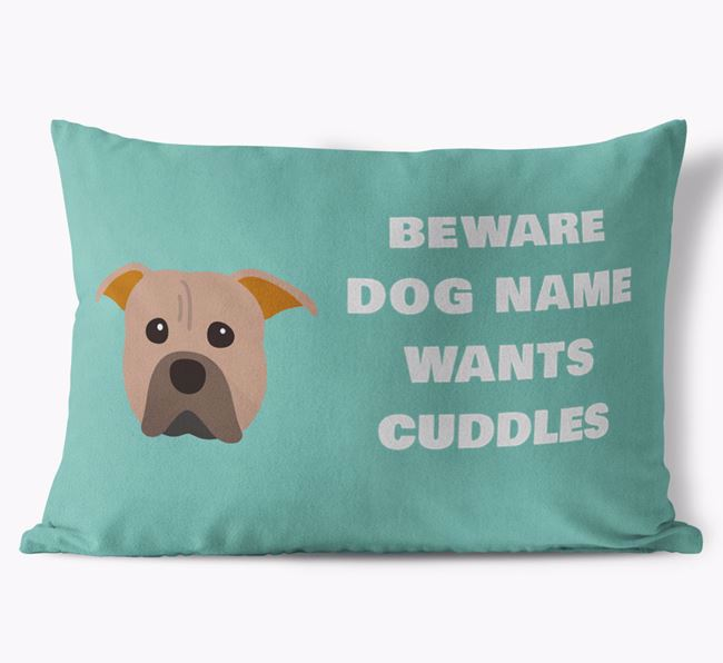 'Beware Of Cuddles' Soft Touch Pillow with American Pit Bull Terrier Icon